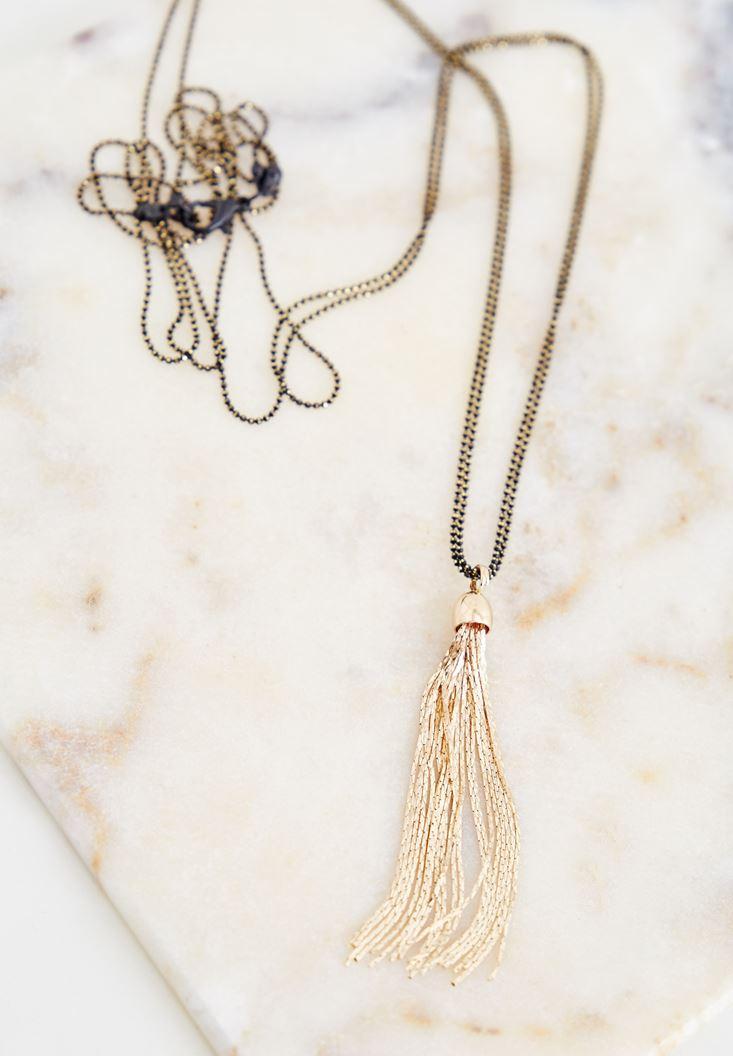 Mixed Necklace With Metallic Fringe Detailed
