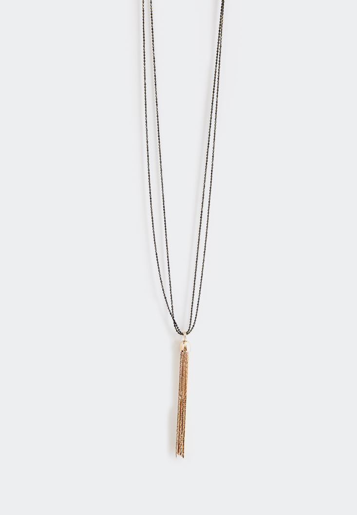 Bayan Çok Renkli Metalik Püskül Detaylı Uzun Zincir Kolye