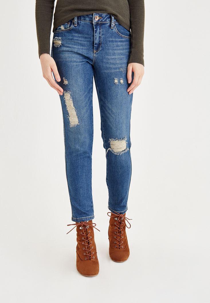 Mavi Düşük Bel Denim Pantolon