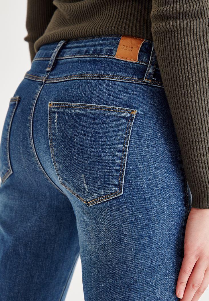 Bayan Mavi Düşük Bel Denim Pantolon