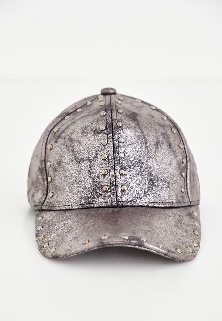 Grey Cap With Metallic Detailed