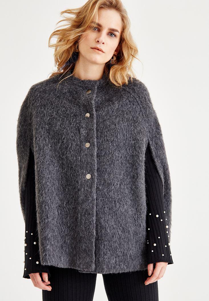 Bayan Gri Kol Detaylı Yün Ceket