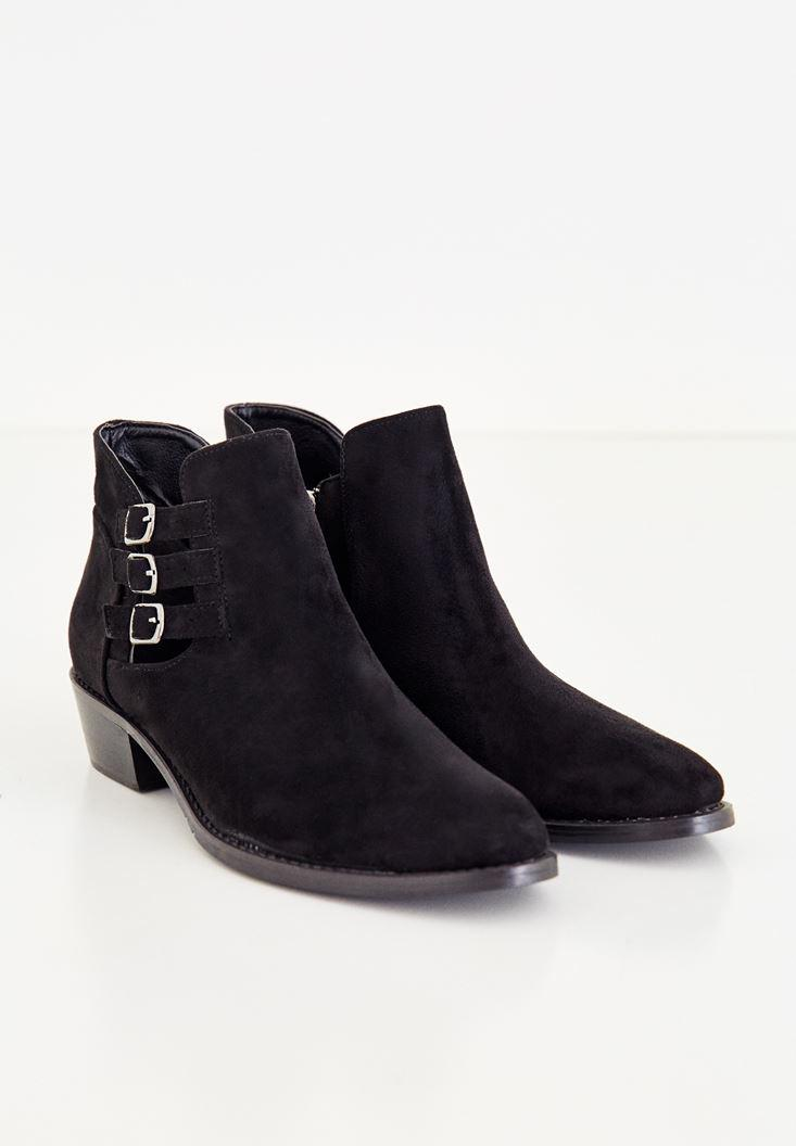 Women Black Ankle Boots With Buckles