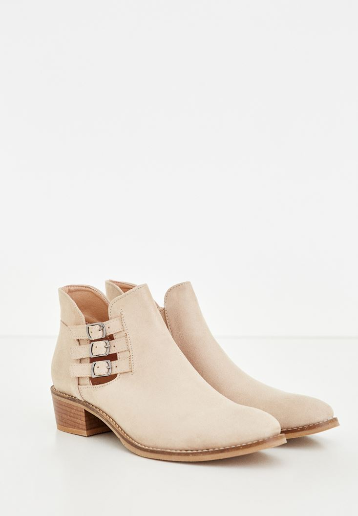 Cream Ankle Boots With Buckles