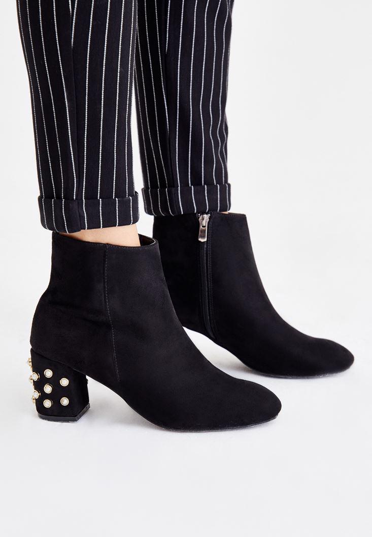 Women Black Boots with Pearl Details