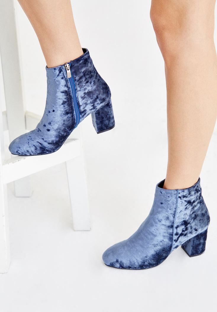 Blue Ankle Boots with Details