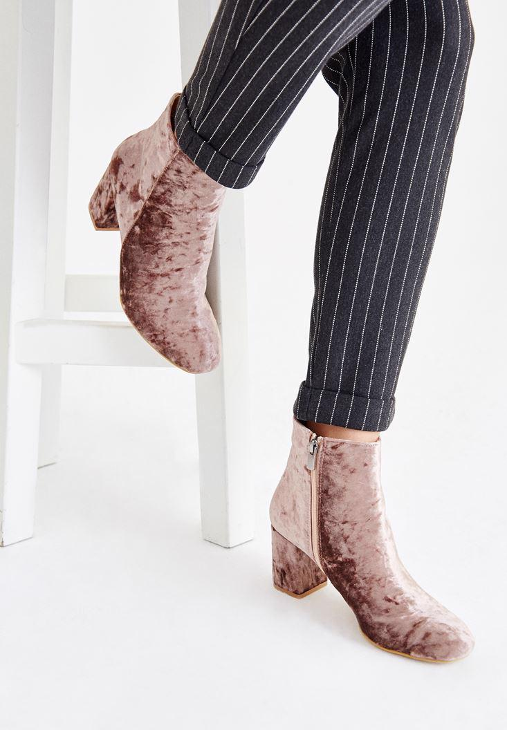 Women Pink Ankle Boots with Details