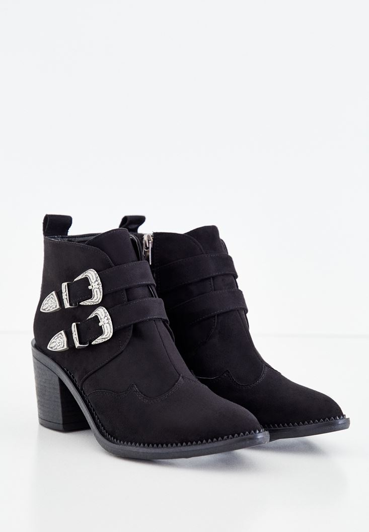Black Boots with Double Buckle Details
