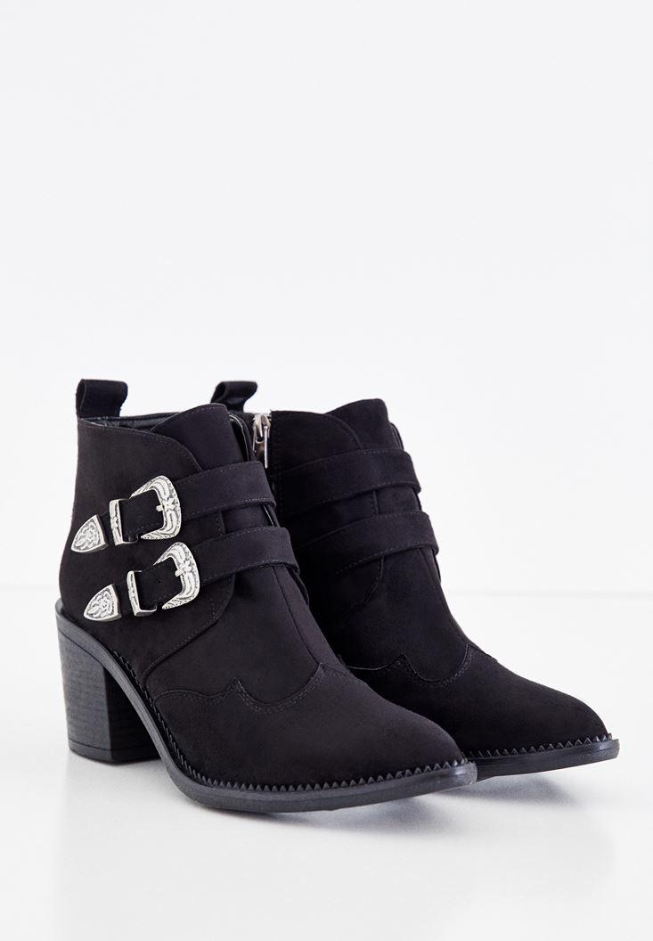Women Black Boots with Double Buckle Details