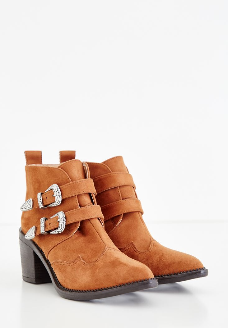 Brown Boots with Double Buckle Details