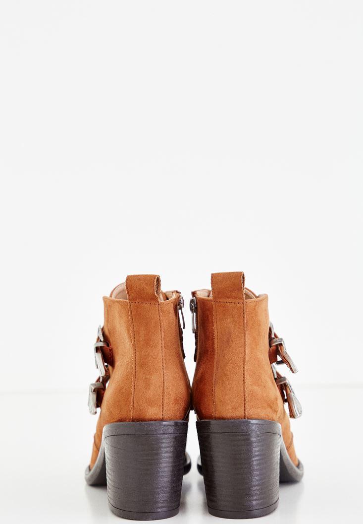 Bayan Kahverengi Çift Toka Detaylı Topuklu Bot