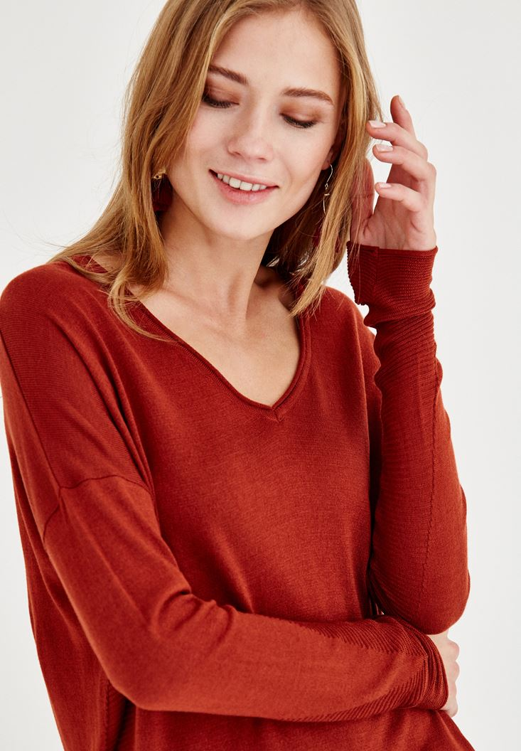Brown V Neck Knitwear with Detailed