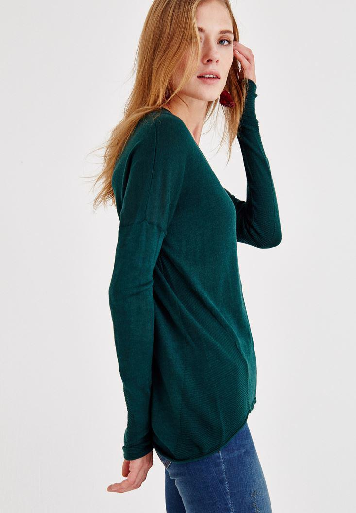 Bayan Yeşil V Yaka Detaylı Triko
