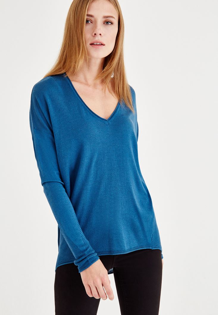 Blue V Neck Knitwear with Detailed