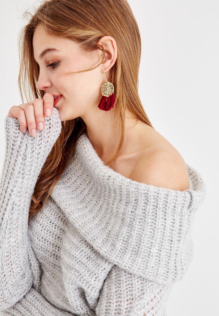 Women Grey Off-Shoulder Knitwear