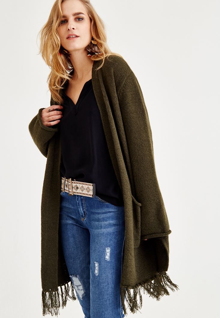 Green Long Cardigan with Fringe Detailed
