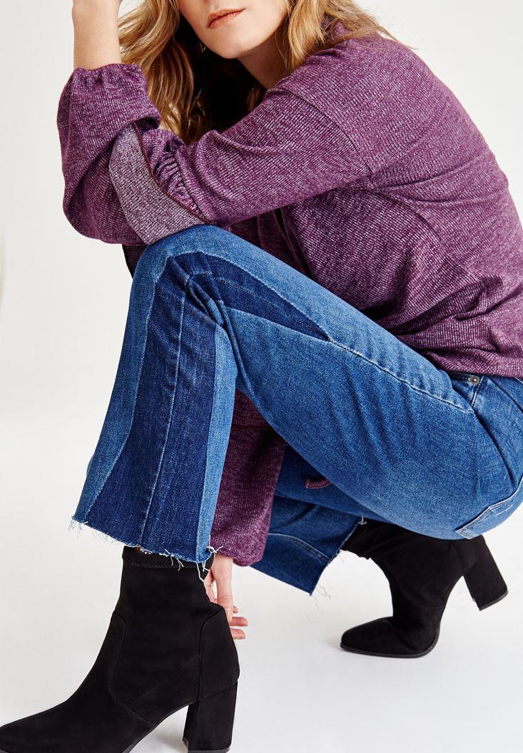 Bayan Mavi Ultra Yüksek Bel Paça Detaylı Denim Pantolon