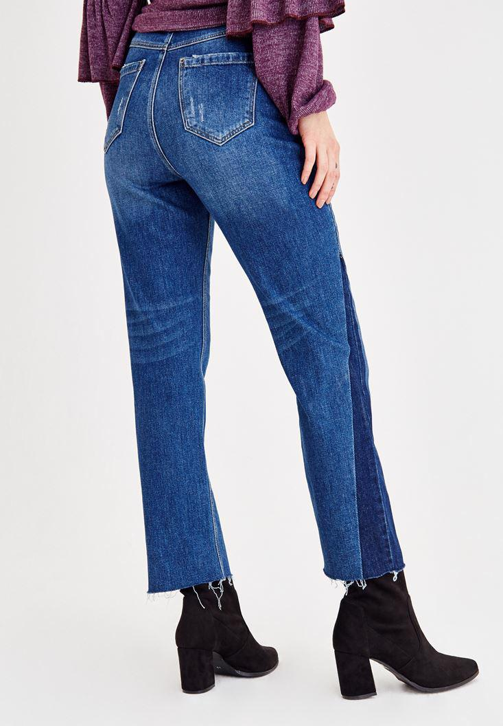 Women Blue Ultra High Rise Pants with Leg Detailed