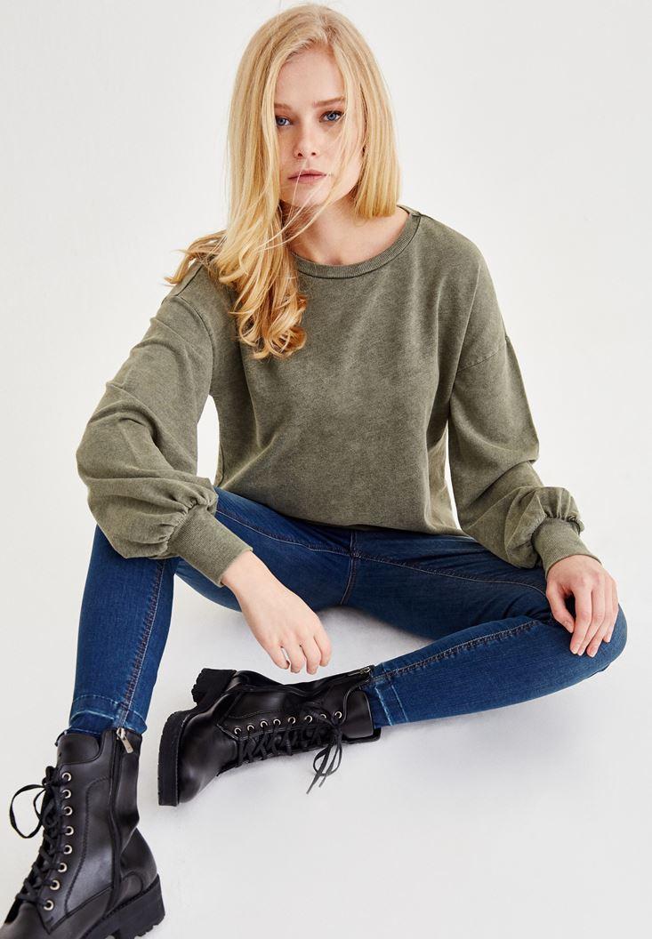 Yeşil Kol Detaylı U Yaka Sweatshirt