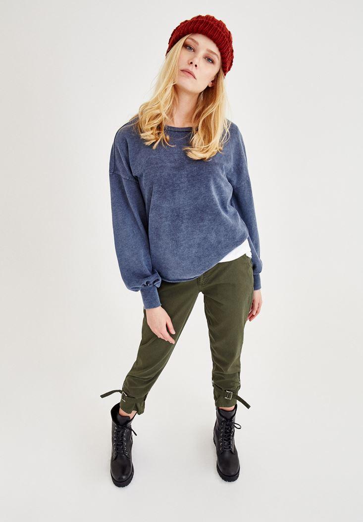 Lacivert Kol Detaylı U Yaka Sweatshirt
