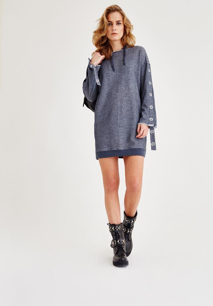 Lacivert Kol Detaylı Kapüşonlu Elbise