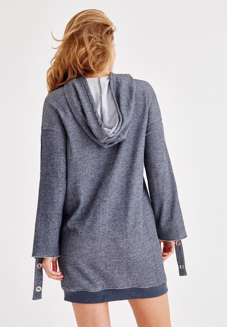 Bayan Lacivert Kol Detaylı Kapüşonlu Elbise