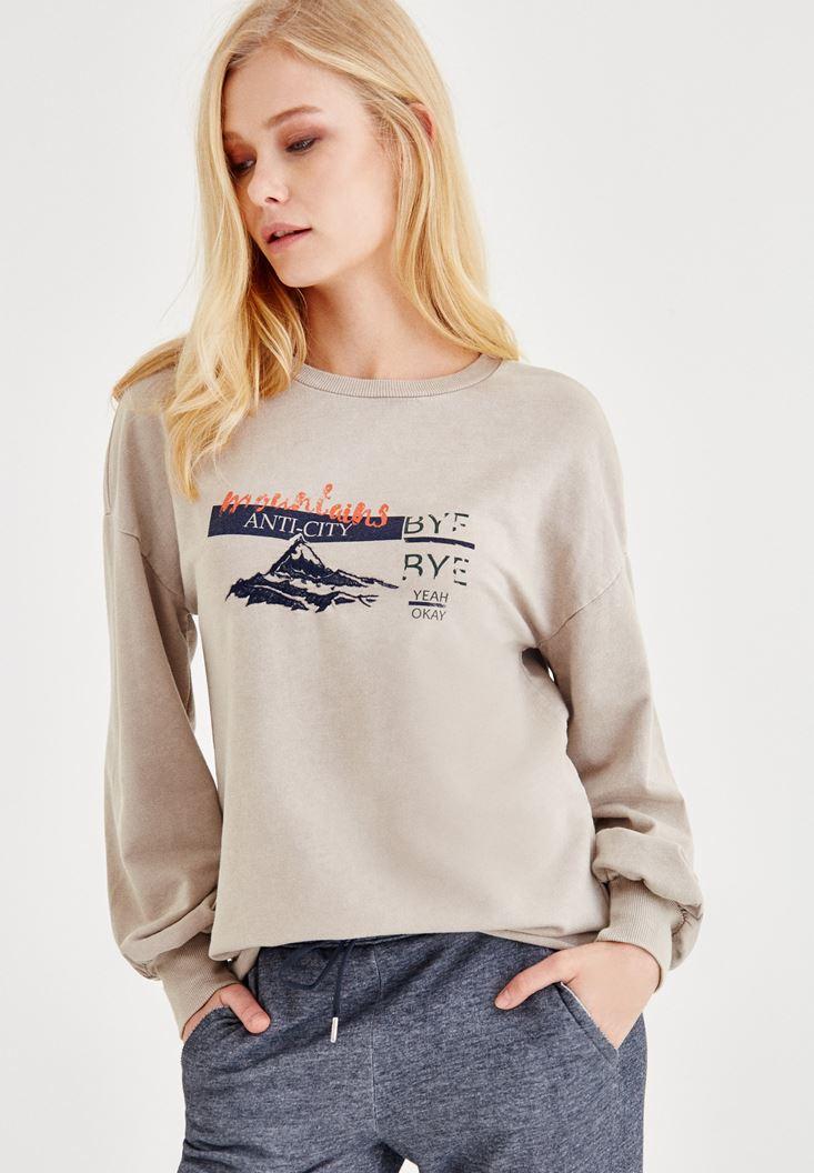 Krem Baskı Detaylı Uzun Kollu Sweatshirt