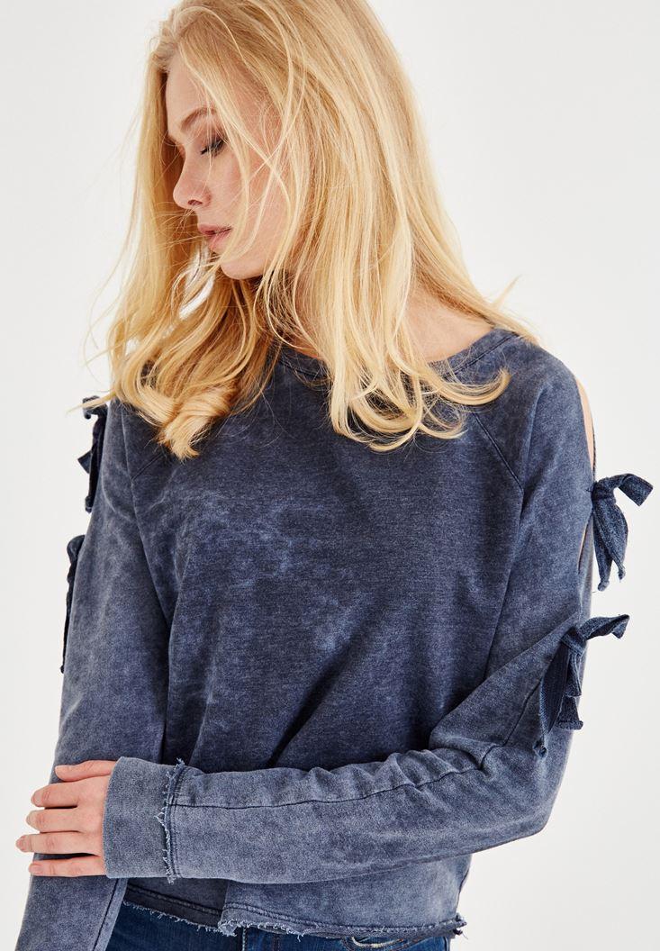 Lacivert Bağlama Detaylı Sweatshirt