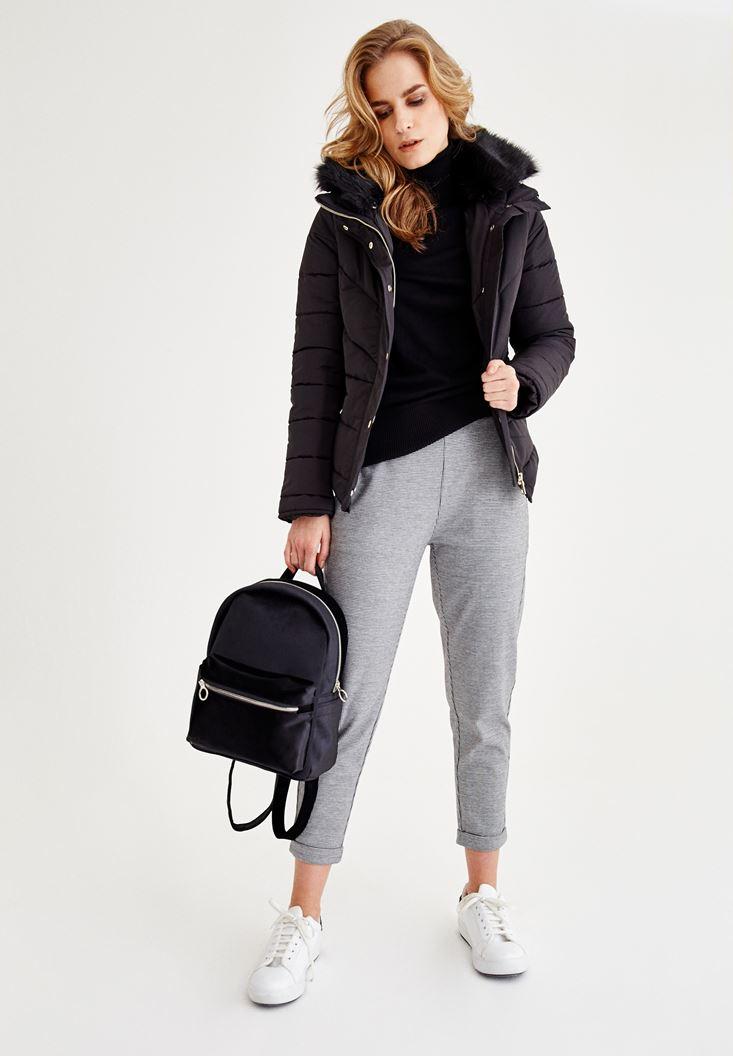 Bayan Çok Renkli Beli Lastik Detaylı Orta Bel Pantolon