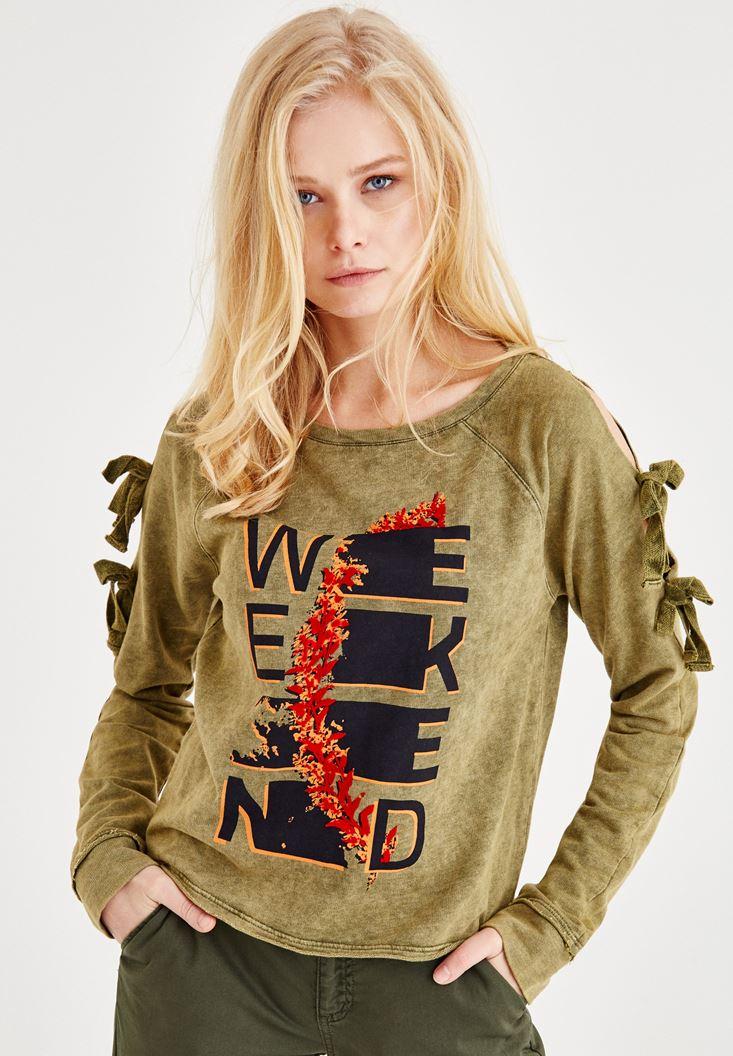 Yeşil Kol Detaylı Baskılı Sweatshirt