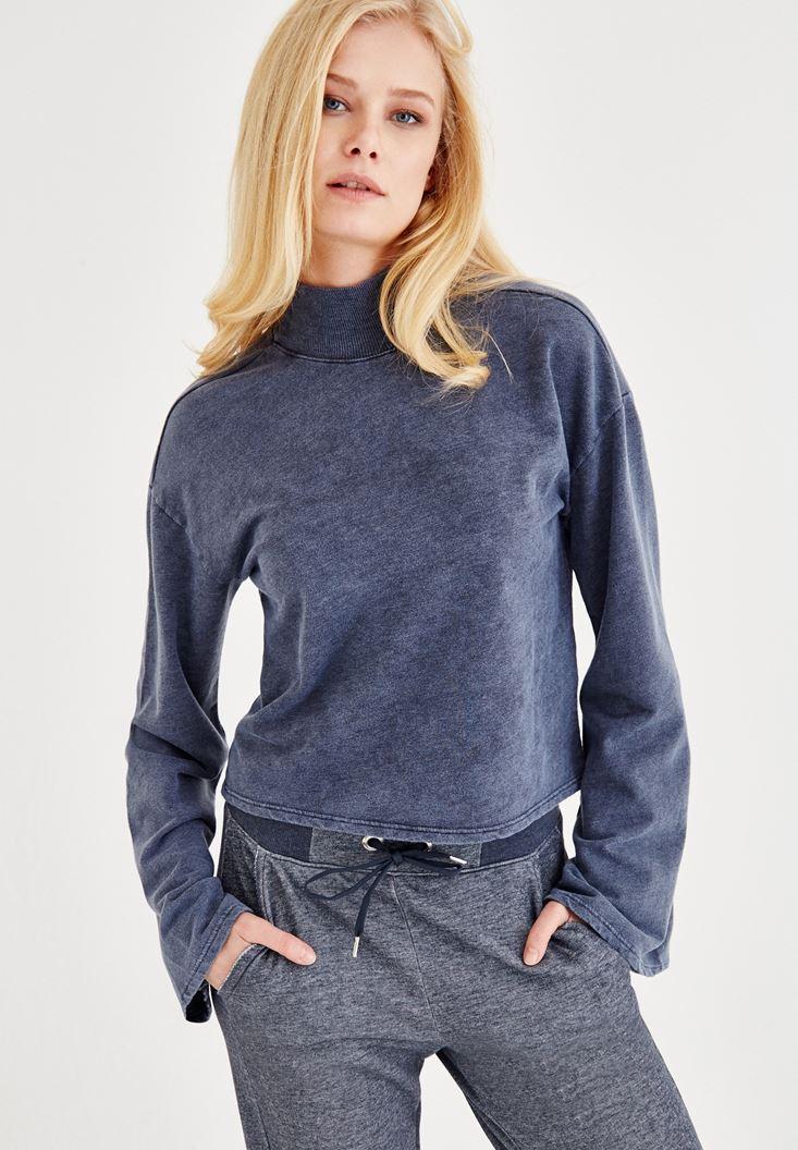 Lacivert Sırt Detaylı Sweatshirt