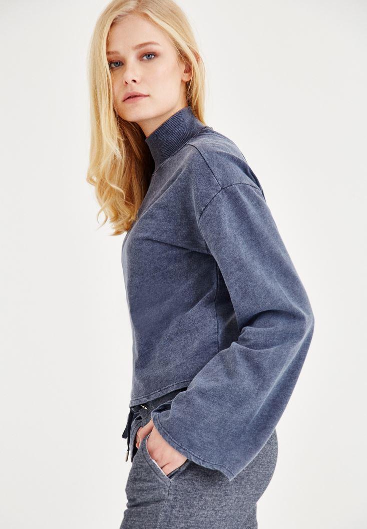 Bayan Lacivert Sırt Detaylı Sweatshirt