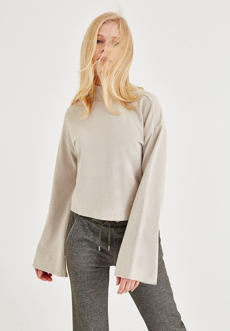 Krem Sırt Detaylı Sweatshirt
