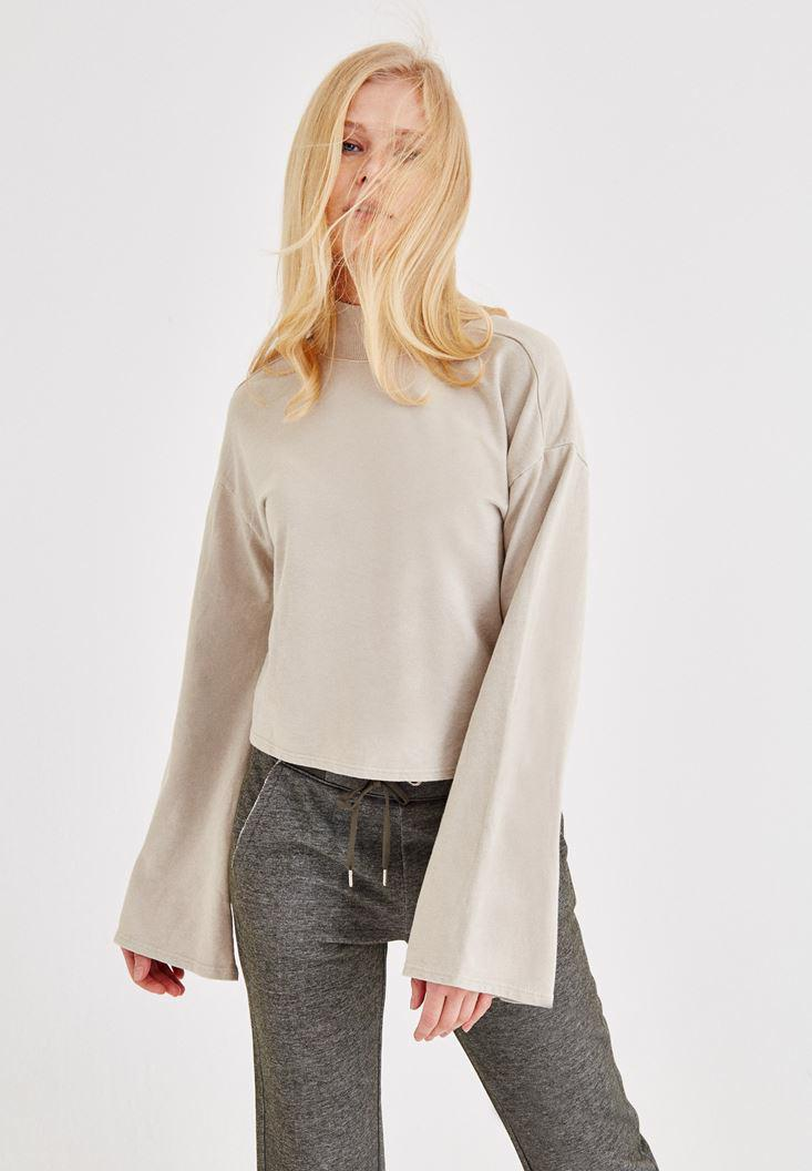 f12819d48 Cream Sweatshirt with Back Detail Online Shopping | OXXOSHOP
