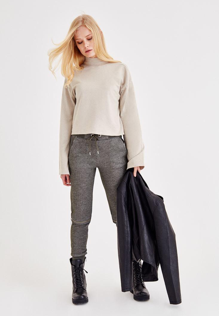 Bayan Krem Sırt Detaylı Sweatshirt