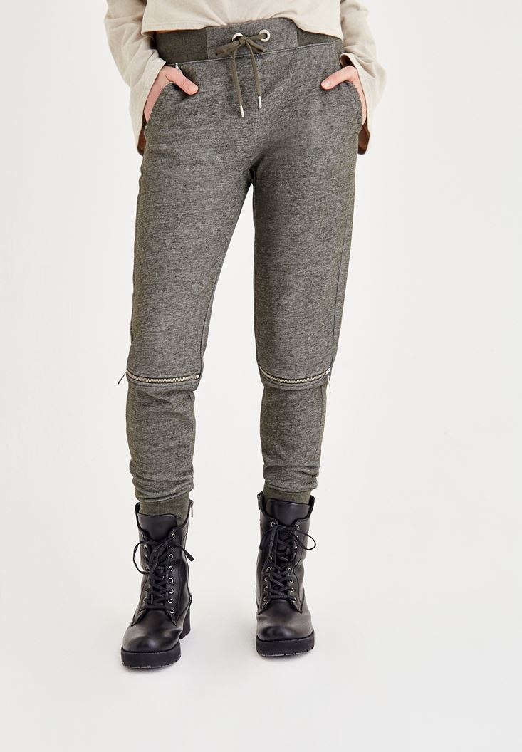 Yeşil Dizi Fermuar Detaylı Pantolon