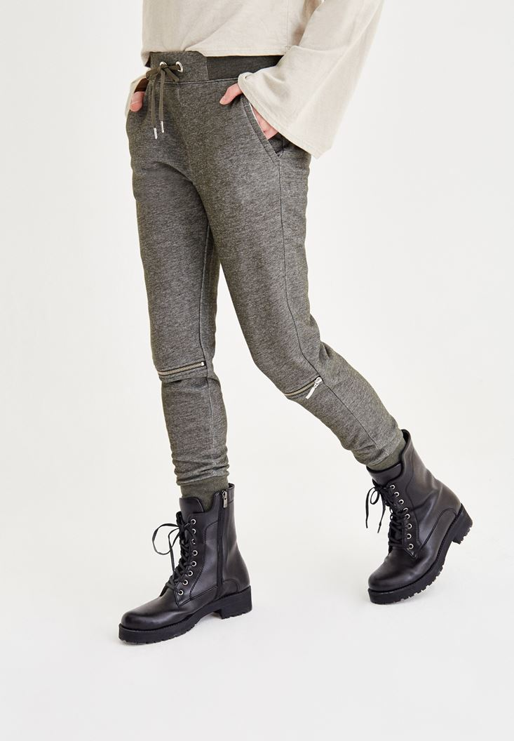 Bayan Yeşil Dizi Fermuar Detaylı Pantolon