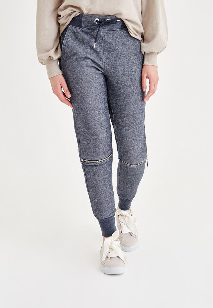 Navy Pants with Knee Zip Detail