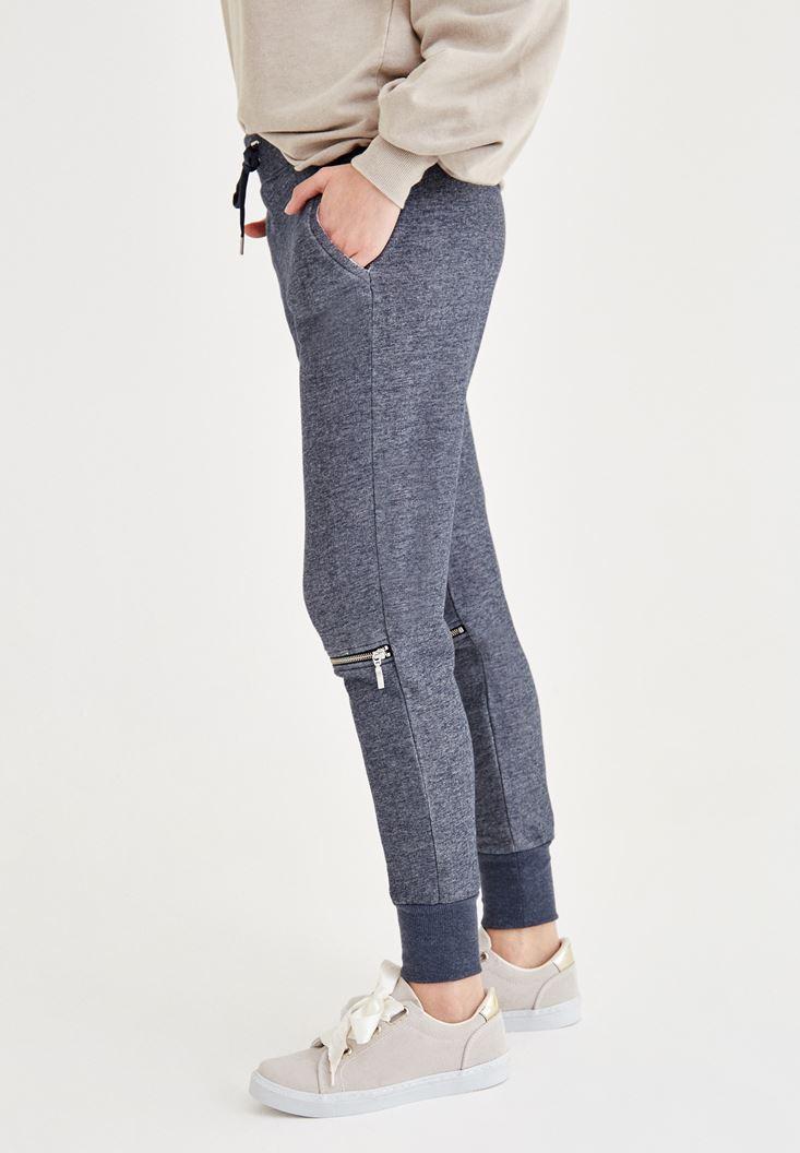 Bayan Lacivert Dizi Fermuar Detaylı Pantolon