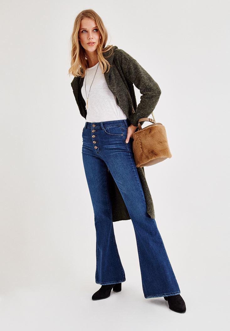 Bayan Mavi Düğme Detaylı İspanyol Paça Pantolon