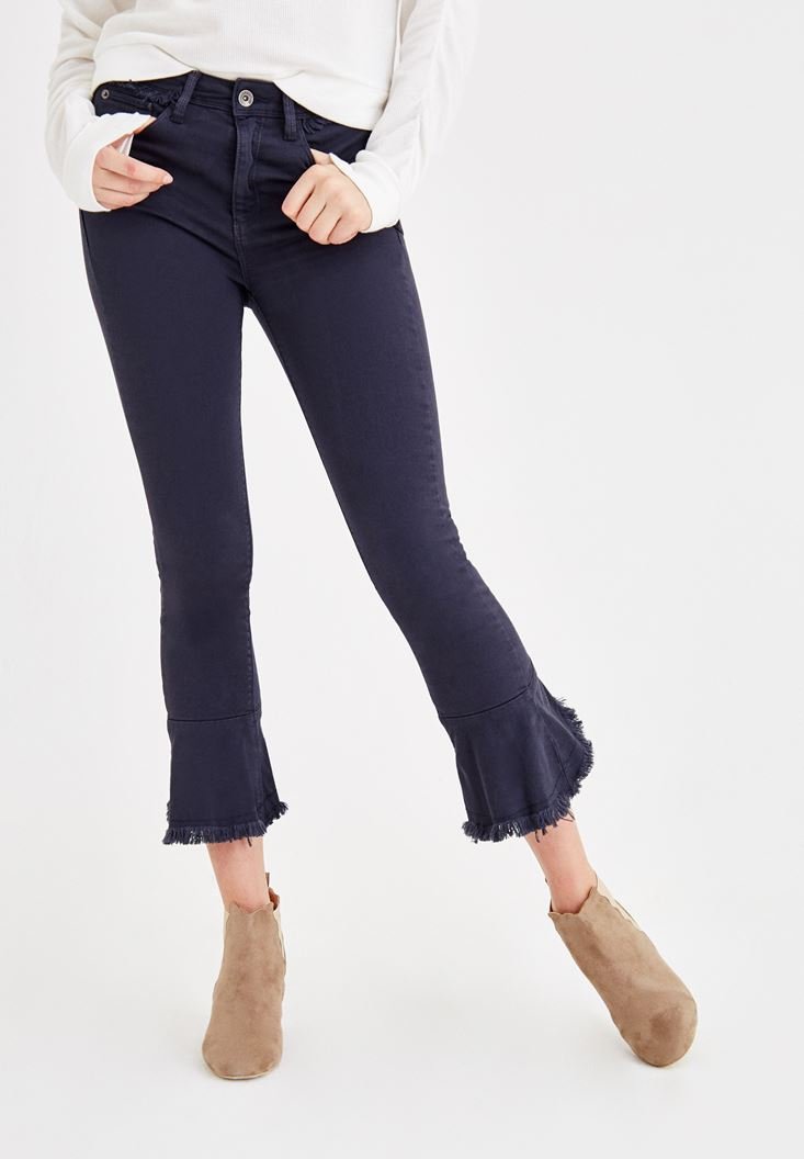 Navy Pants with Ruffle Ankle Detail