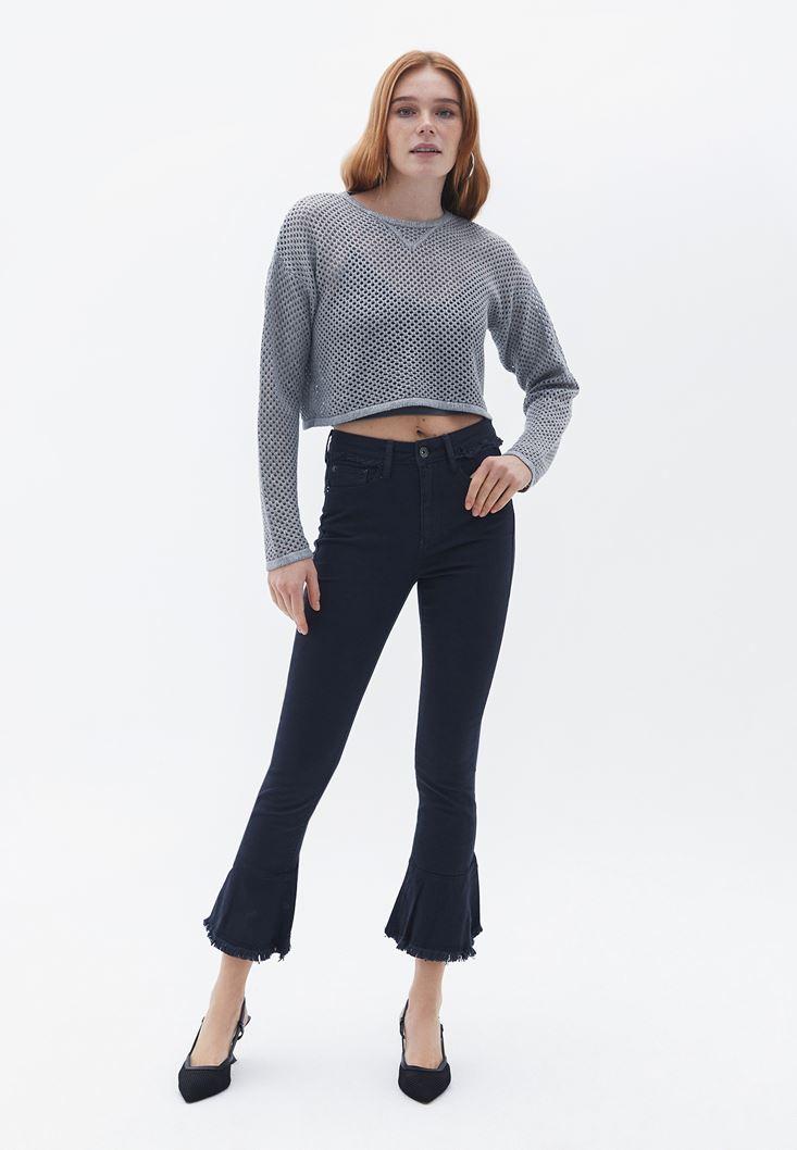 Lacivert Fırfır Paça Detaylı Pantolon