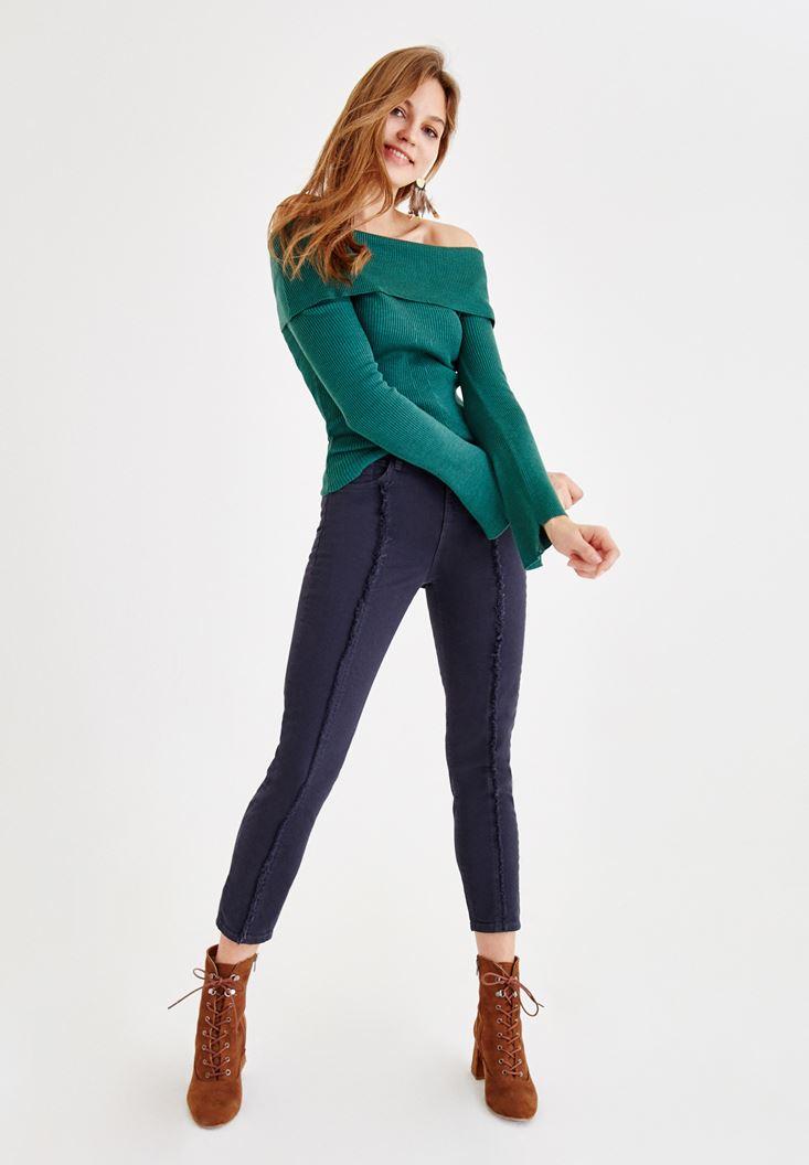 Bayan Lacivert Ultra Yüksek Bel Slim Pantolon