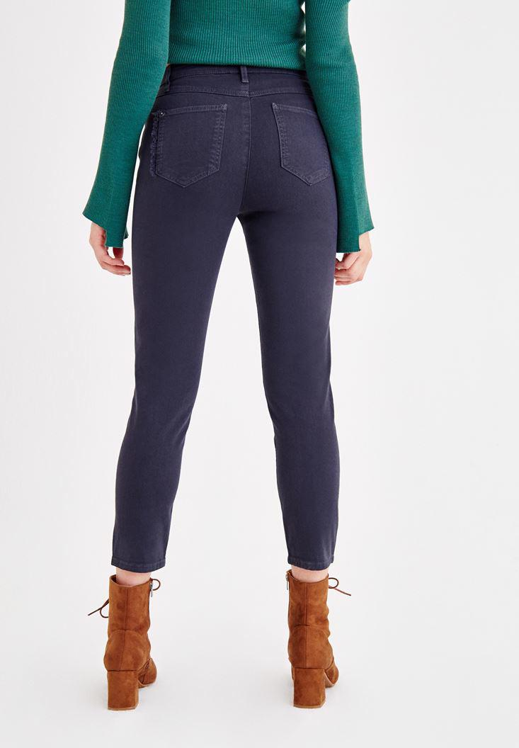 Women Navy Ultra High Rise Slim Pants