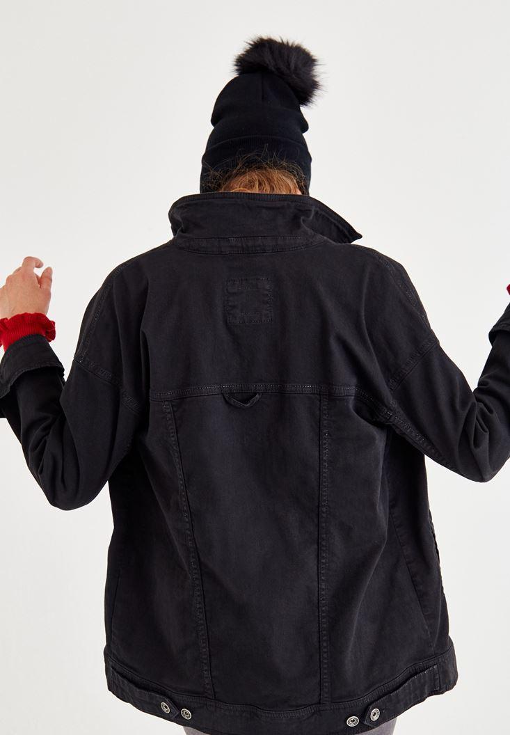 Bayan Siyah Cep Detaylı Denim Ceket