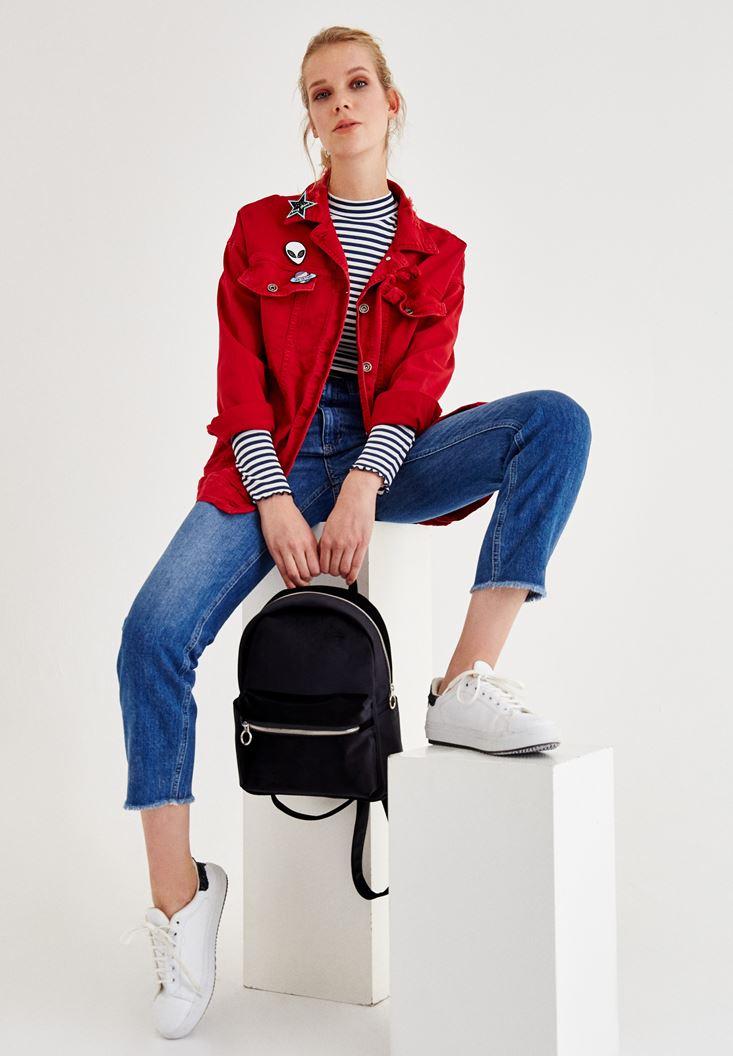 Kırmızı Cep Detaylı Denim Ceket