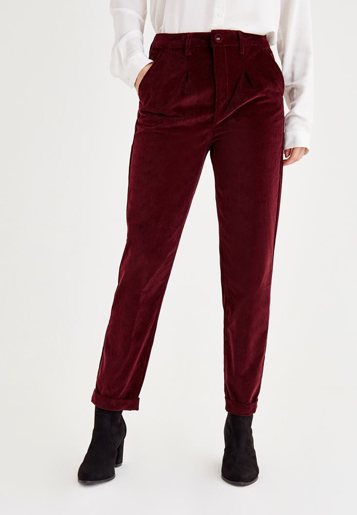 Bordeaux Velvet Pants