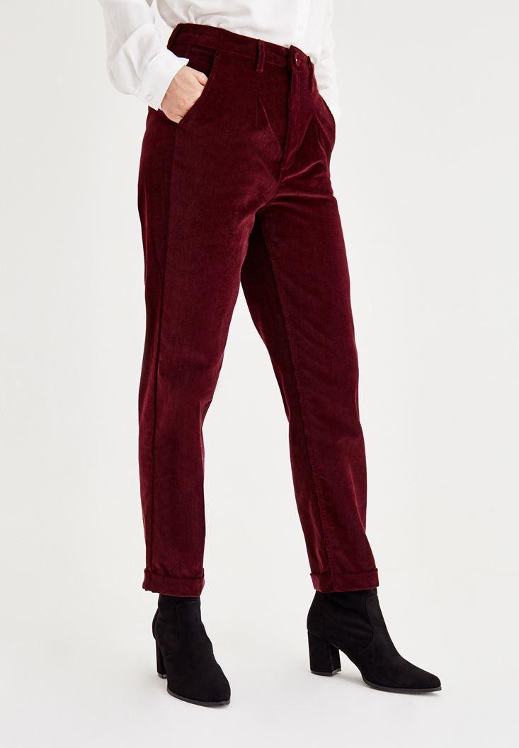 Bayan Bordo Kadife Görünümlü Pantolon
