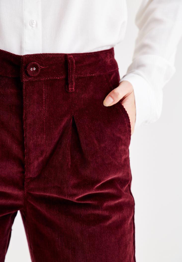 Women Bordeaux Velvet Pants