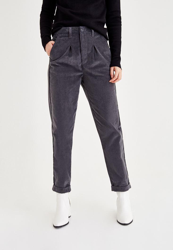 Bayan Gri Kadife Görünümlü Pantolon